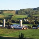 Landscape view of a steel and metal build farm buildings.